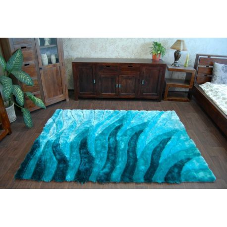 Carpet shaggy 3d 202 turquoise - Tapis shaggy turquoise ...