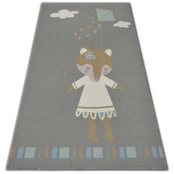 Carpet for kids LOKO Mouse grey anti-slip
