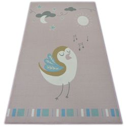 Carpet for kids LOKO Bird pink anti-slip
