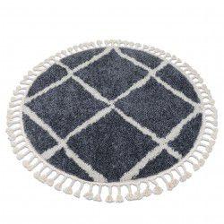 Carpet BERBER CROSS B5950 circle grey / white Fringe Berber Moroccan shaggy