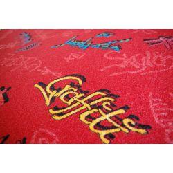 Children carpet GRAFFITI red