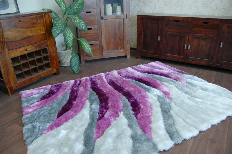 Carpet Shaggy 3d 202 Silver And Purple